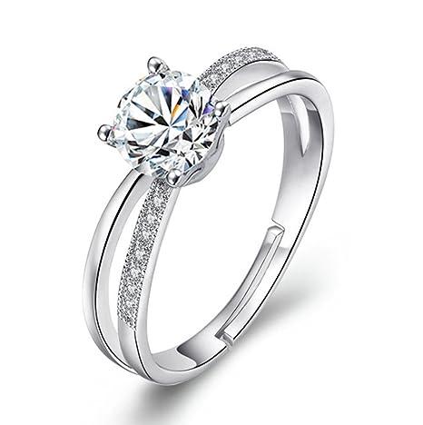 Freessom Bague Femme Amour Infini Argent 925 Diamant Zirconium Reglable Fine Delicat Ajustable Originale Faitaisie Anneau Bijoux Mariage Fiancaille