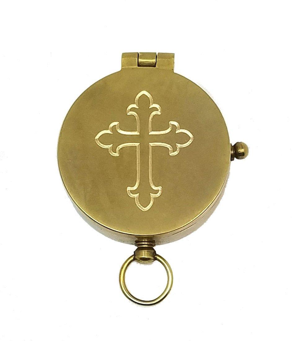 刻印アンティーク真鍮ポケットコンパスクロス、Personalized洗礼/確認ギフト) B0795BJB36 パーソナライズコンパス