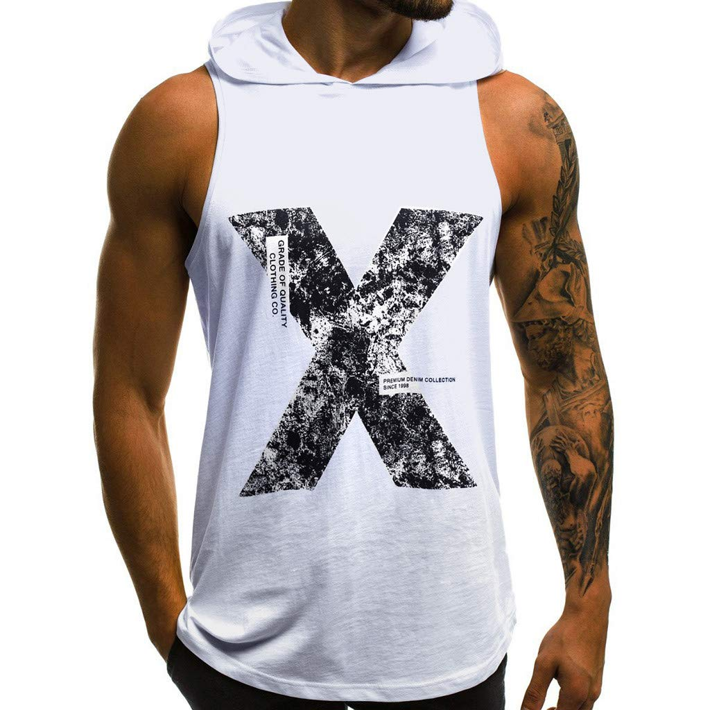 aiNMkm Summer T Shirts,Men's Casual Slim Letter Printed Sleeveless Hooded Tank Top T Shirt Top Blouse,White,XL