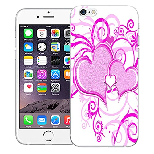"""Mobile Case Mate iPhone 6S 4.7"""" Silicone Coque couverture case cover Pare-chocs + STYLET - Purple Heart pattern (SILICON)"""