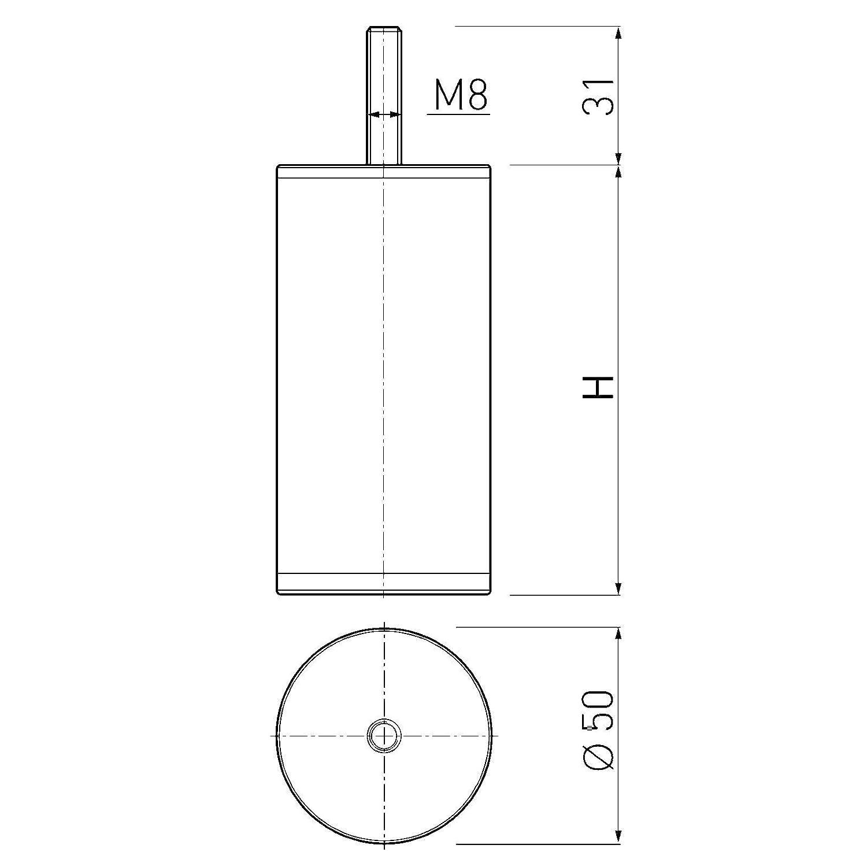 H 100 mm Chrome poli Pieds Socles Pieds de Canap/é Pieds de Lit de SO-TECH Lot de 4 x Pieds de Meuble UNIFORM /Ø 50