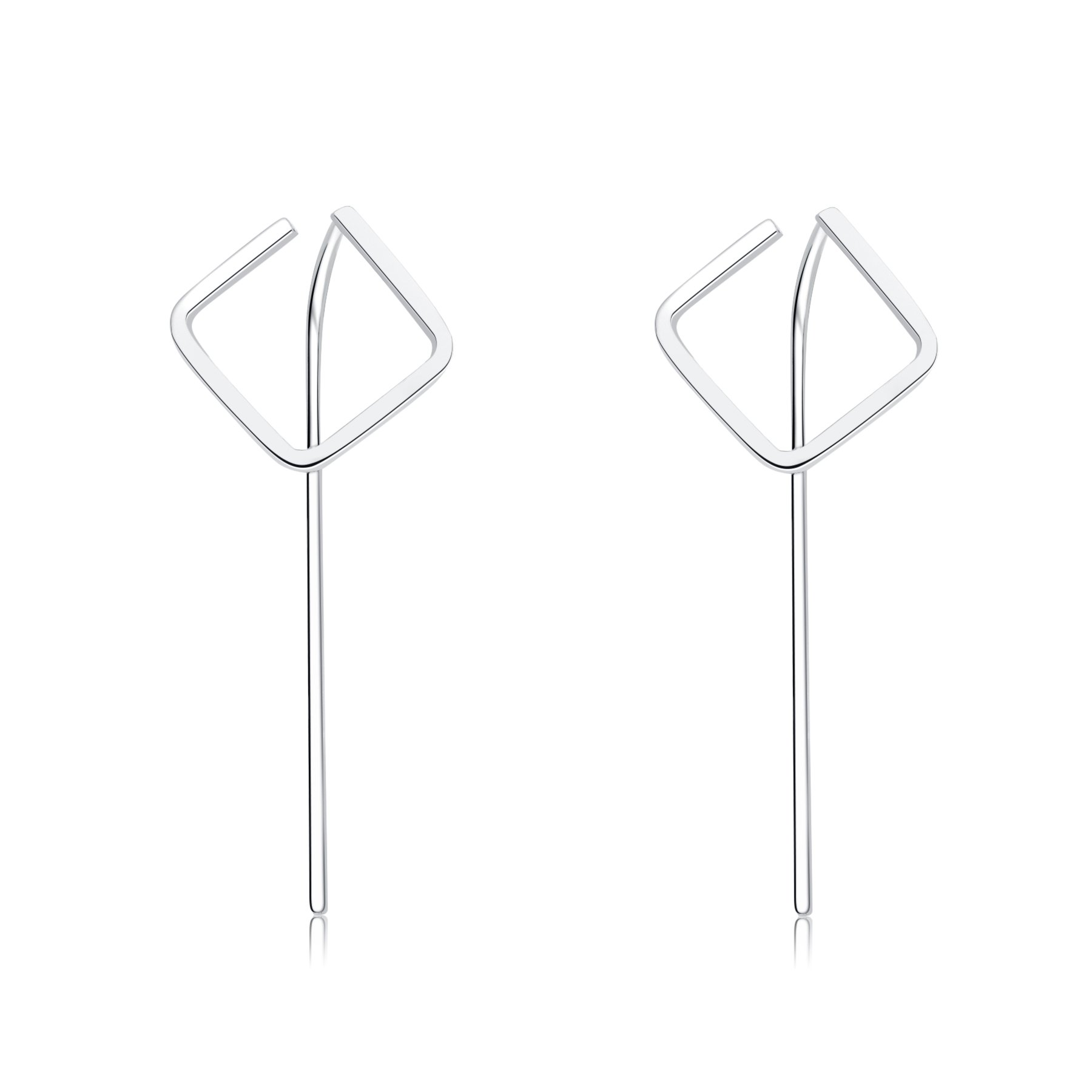 Bigbabybig 925 Sterling Silver JewelrySquare Hoop Earrings for Women Girls