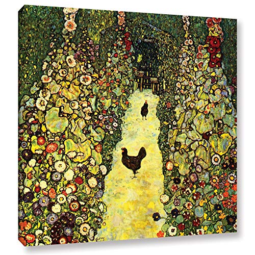 Gustav Klimt Abstract Canvas - ArtWall Garden Path with Chickens Gallery Wrapped Canvas by Gustav Klimt, 24 by 24-Inch