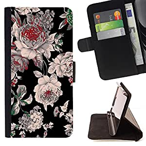 - Black Floral Spring Design - Estilo PU billetera de cuero del soporte del tir???¡¯????n [solapa de cierre] Cubierta- For Apple Iphone 4 / 4S £¨ Devil Case £©