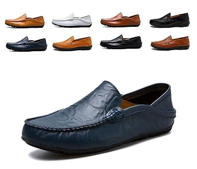 a1849e74cf4 AARDIMI Hommes Doux Cuir en Grains Divisés Mocassins de Conduire Confort Penny  Loafers Chaussons Chaussure Bateau