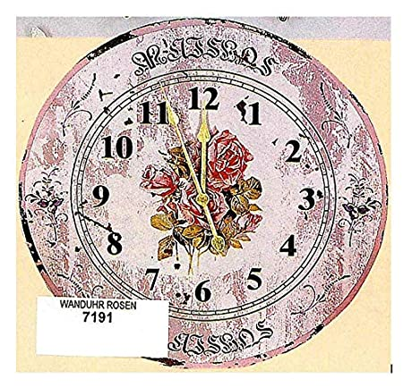 hoff interieur 7191 wooden cottage shabby chic pink roses wall clock