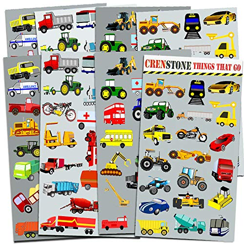 Crenstone Cars and Trucks Stickers Party Supplies Pack Toddler -- Over 160  Stickers (Cars, Fire Trucks, Construction, Buses and -