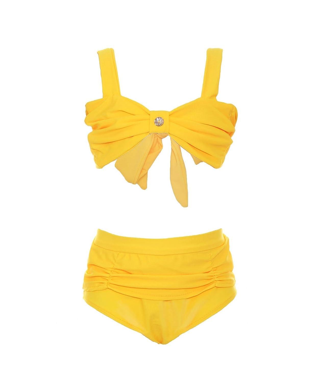 ReliBeauty Girls Princess Belle Bikini Set Stretch Swimwear