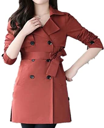 5220f9c9fb3 ouxiuli Women s Long Sleeve Casual Double-Breasted Woolen Jacket at ...