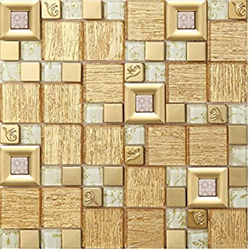 Gold Stainless Steel And Glass Wall Tile White Crystal Mosaic For Bathroom Or Kitchen Backsplash Box Of 11 Sheets Amazon Com