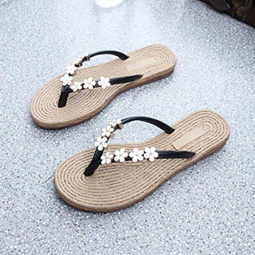 Amily Women Flower Casual Flat Flip Flops Sandali Mocassini Bohemia Scarpe Da Spiaggia Nere