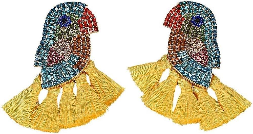 Pendientes De Borla Con Flecos De Cristal De Loro Para Mujer Bohemia Pendientes De Gota Multicolores De Lujo Joyas