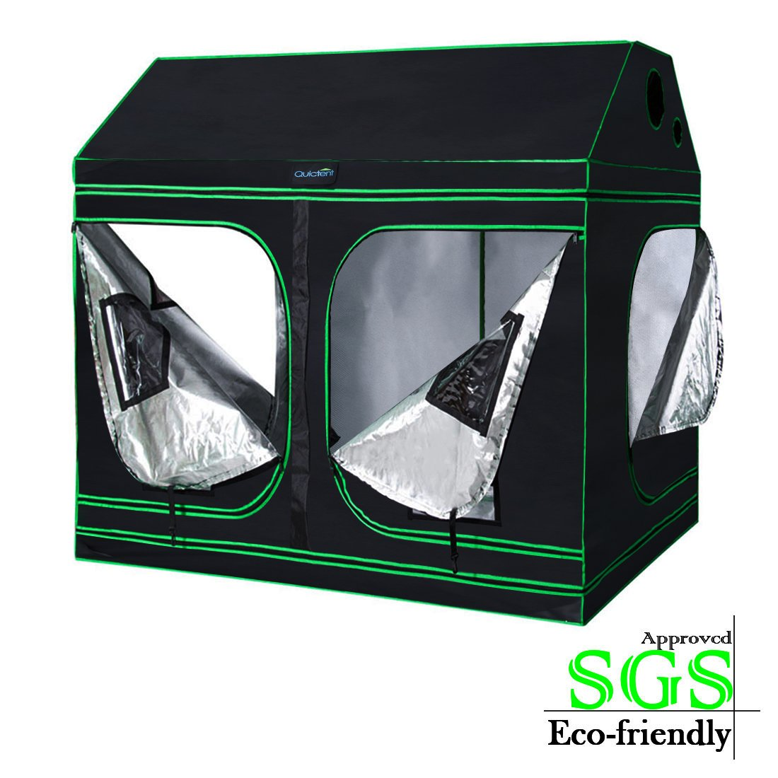 Quictent SGS Approved Eco-Friendly 96''x48''x71'' Reflective Mylar Hydroponic Roof Cube Grow Tent with Obeservation Window and Waterproof Floor Tray for Indoor Plant Growing