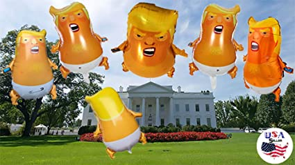 1 Trump Baby Party Funny Toy Balloons Mini Size 25.2 inches 1:1 Design World Trip Donald Trump Blimp 2-Pack