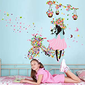 Flower Fairy Girl Riding Bicycle with Butterfly & Flowers Wall Decals for Girls Bedroom, Romantic Lovely Flowers Butterflies Girl Wallpaper Mural, DIY Wall Art Stickers Decor Home Decorations (B)