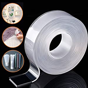 Removable&Traceless Adhesive Nano Gel Tape, Washable Strong Adsorption Double Sided Clear Silicone Tape for Wall,Kitchen,Carpet,Photo Fixing by Honwally (5 Meters)