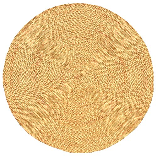 Acura Rugs Natural Jute Collection Transitional Styled Hand Woven and Braided Round Area Rug, 6', Natural