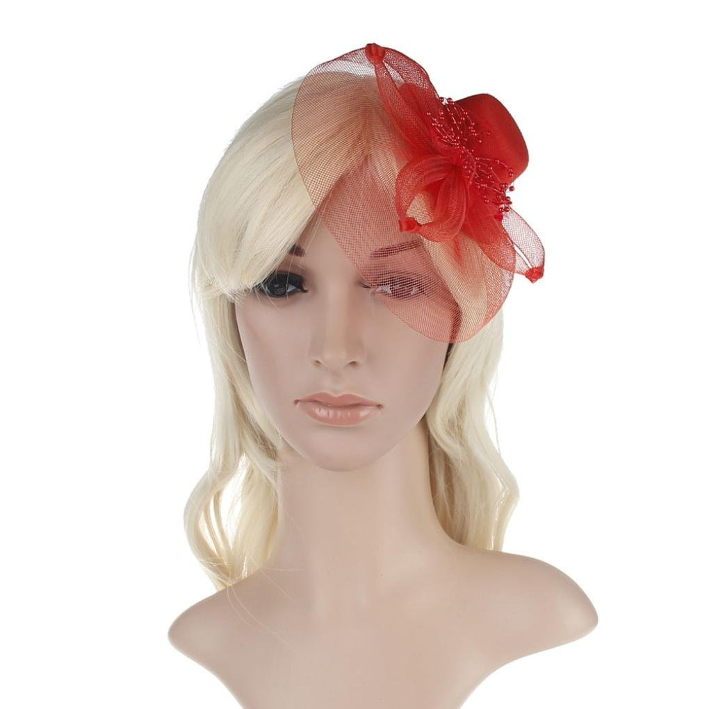 Flower Feather Veil Fascinator Wedding Headwear Ladies Race Royal Ascot Pillbox Cocktail Party Derby Hat