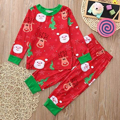 Kids Christmas Sleepwear Baby Boy Girl Winter Long Sleeve Deer Tops Plaid Pants
