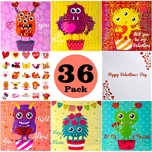 (36 MONSTER Valentine Card Packs, Valentine's Day Cards with 72 Temporary Tattoos and 36 Heart Envelopes for Kids/Roommate/Classmates Exchange)