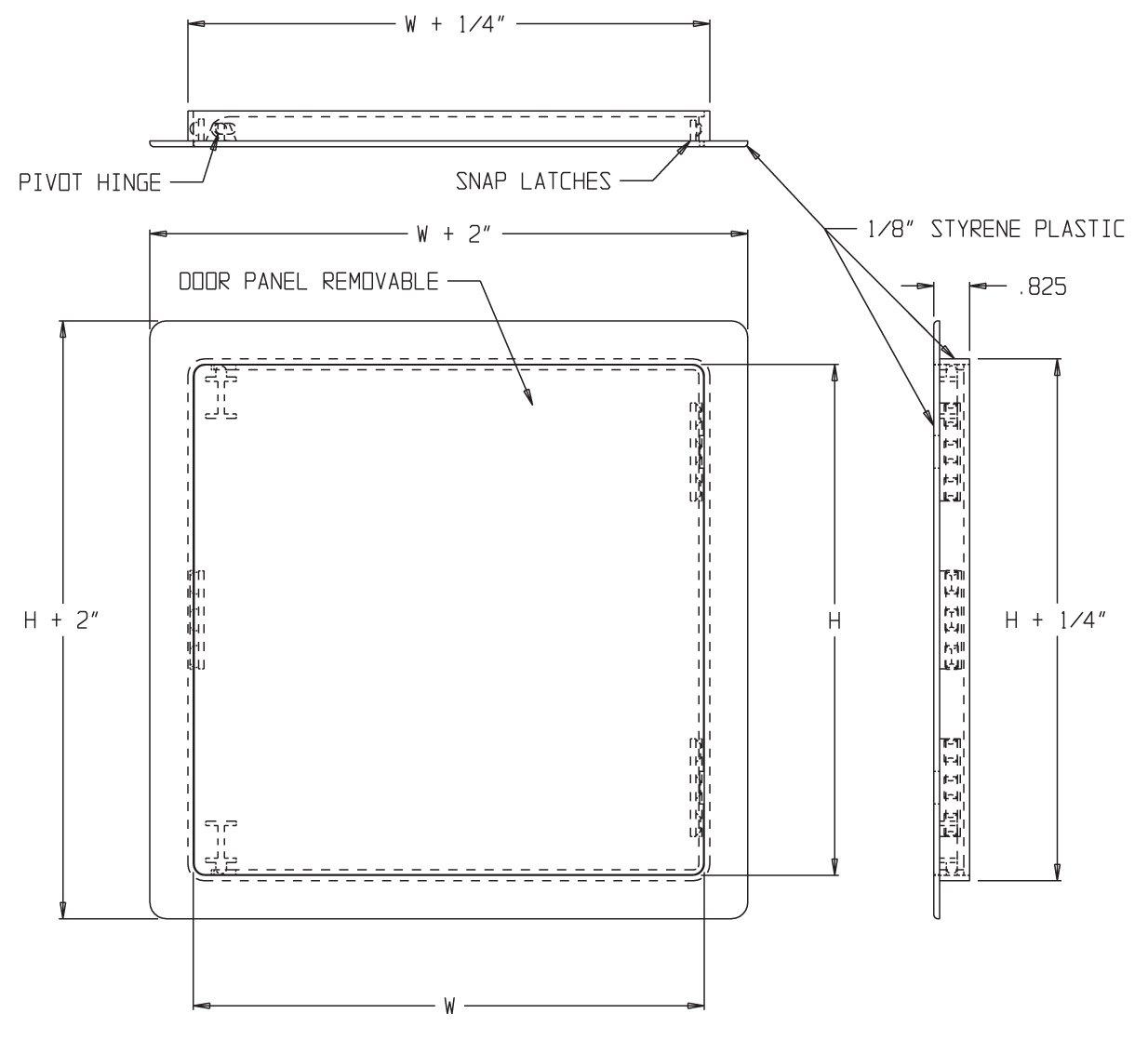 .4'' x 6'' Flush Plastic Access Door