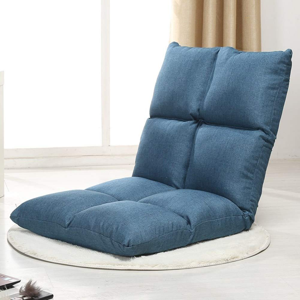 D&W Padded Folding Lazy Recliner, Adjustable 5-Position multiangle Adult Video-Gaming Reading Cushioned Recliner -Blue 52x55x55cm(20x22x22inch)