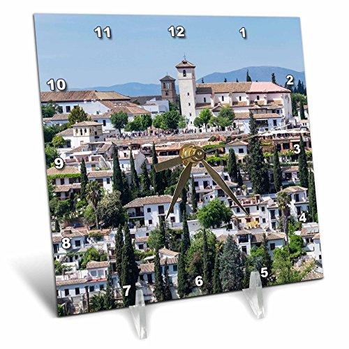 3dRose Danita Delimont - Spain - Spain, Andalusia. Granada. View across a spanish town. - 6x6 Desk Clock (dc_277890_1) by 3dRose