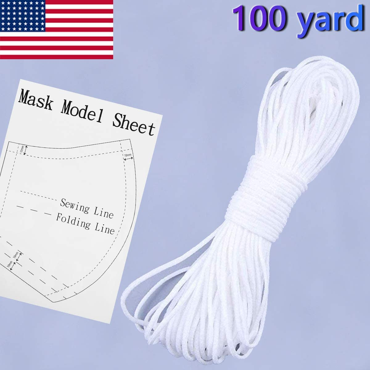 Securing Holder Earloop Band Stretchy Trim Elastic Cord for Face Masks Rope Handmade DIY Elastic String for Sewing Masks 1//8 inch White Round Thin Drawstring Braided -100 Yard