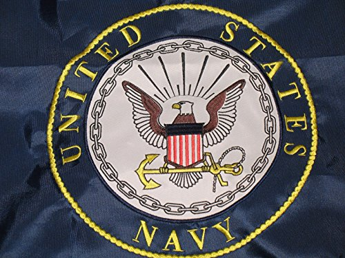 2x3 Embroidered Double Sided U.S. Navy Emblem Seal Crest Solarmax Nylon Flag Double Sided Appliqued