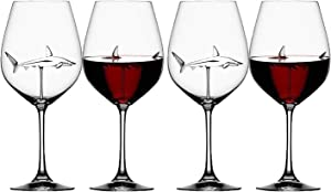 Mintuse Shark Wine Glasses With Shark Inside for Adult - 21X7.5CM 300 ML - Home Original Shark Red Wine Glass with Shark Inside Wine Bottle Crystal Wine Glasses for Party Wedding Flutes Glass (4PC)