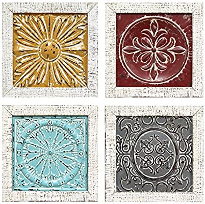 Stratton Home Decor S07709 Accent Tile Wall Art Set of 4 Multicolor