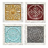 Stratton Home Decor S07709 Accent Tile Wall Art (Set of 4), Multicolor For Sale