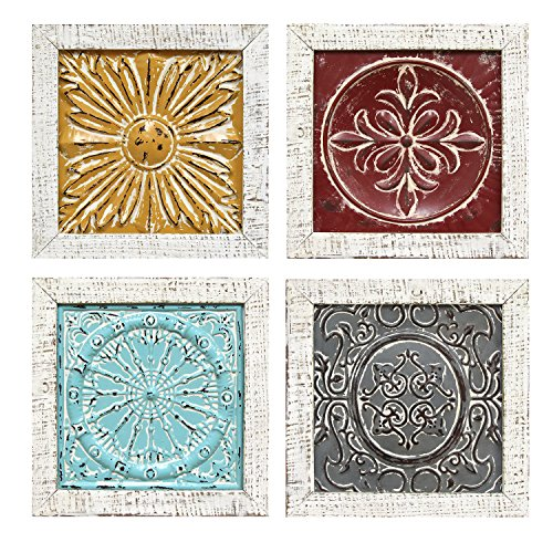 Stratton Home Decor S07709 Accent Tile Wall Art (Set of 4), 12.00 W x 1.00 D x 12.00 H Each, Multi (Wall Medallion Metal Decor)