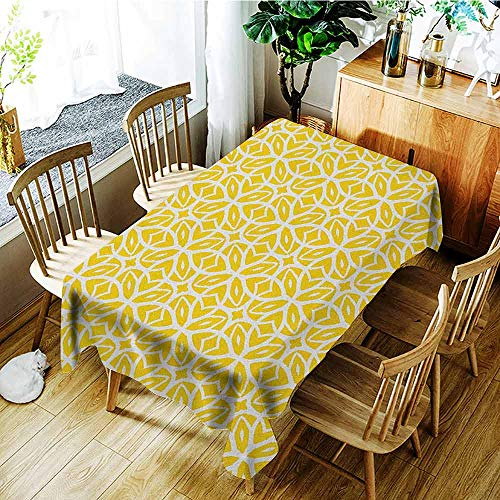 (XXANS Large Rectangular Tablecloth,Yellow and White,Geometric Art Pattern with Lacing Shapes 30s Style Spring Fashion,Modern Minimalist,W50x80L Earth Yellow White )