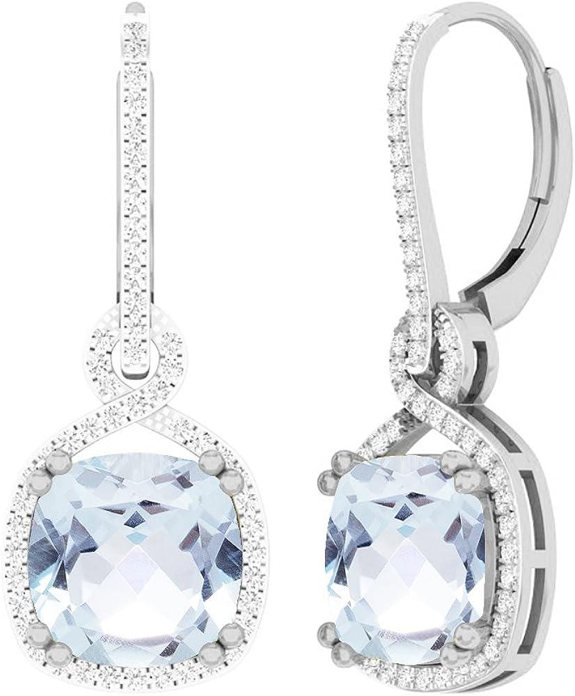 Pendientes colgantes de oro blanco de 14 quilates, 10 mm, cada cojín con piedras preciosas y diamante redondo para mujer