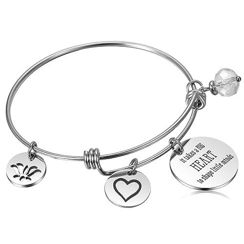 bebf74ba0c889 Teacher Appreciation Gifts for Women Teacher Assistant Bangle Bracelet for  Teachers Thank You/Retirement/Graduation/Year End Gift - It Takes a Big ...