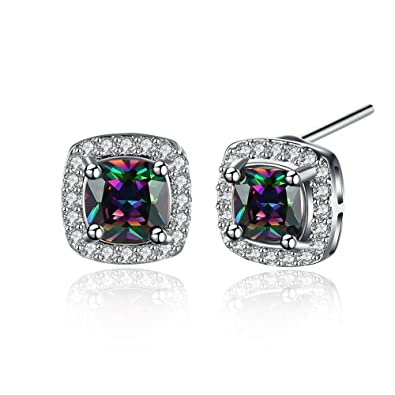 8d0d4ed70 BuycitKy Colorful Cubic Zirconia Stud Earrings for Women Girls Small Square  Post Earrings, with PU