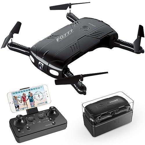 RC Quadrocopter Drohne mit 2.0MP Kamera Live Video 2 Batterien Klappbare Arms Pocket Mini Drohne für Anfänger 2.4G 6-Achsen Headless-Modus RTF Helikopter