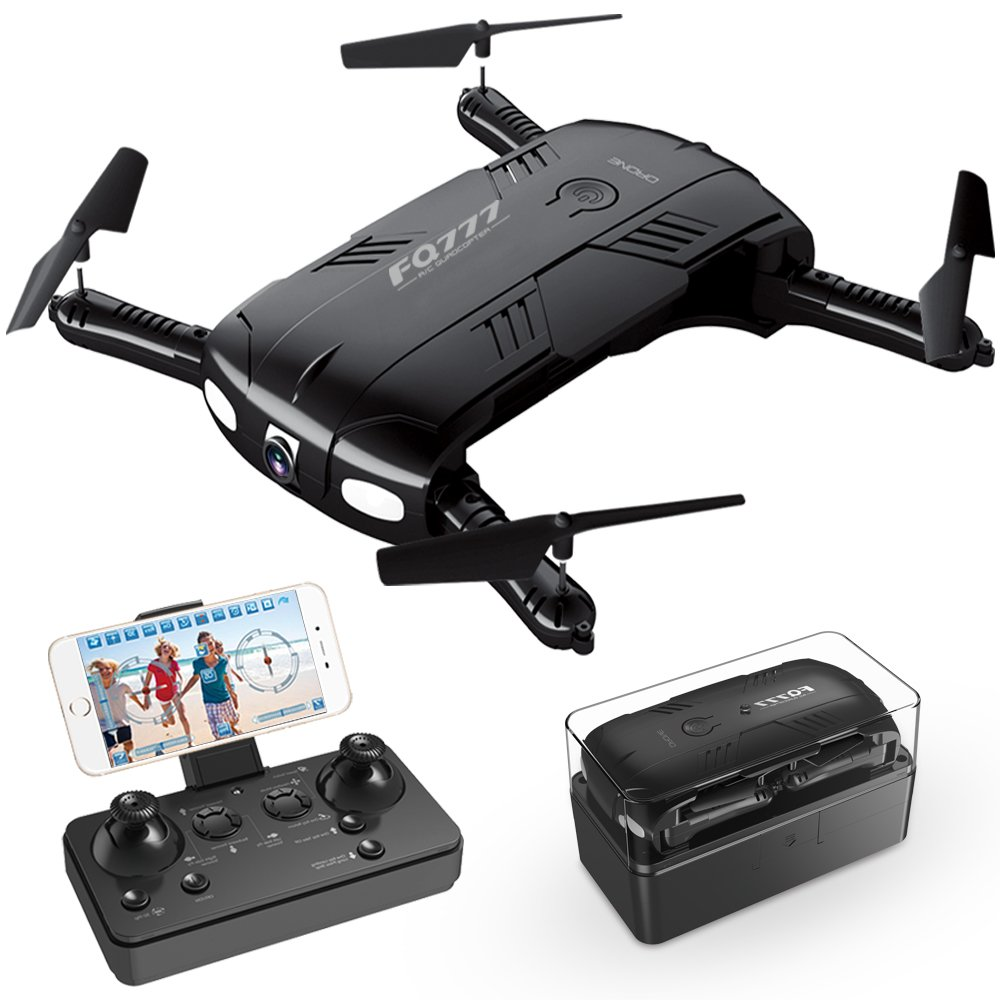 Drone with Camera Live Video, RC Quadcopter Pocket Drones with 2 Batteries, Easy to Use for Beginners,2.4G 6-Axis Headless Mode Altitude One Key Return 3D Flips and Rolls Toys by ToyerBee (Image #1)