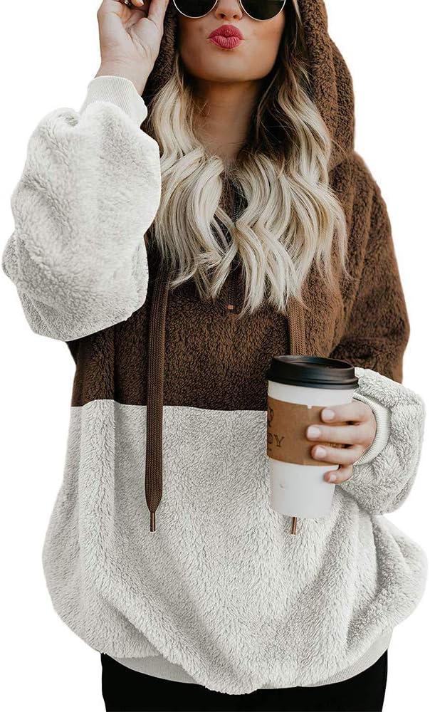 YYG Womens Fall Winter Long Sleeve Loose Sherpa Fuzzy Pullover Sweatshirt