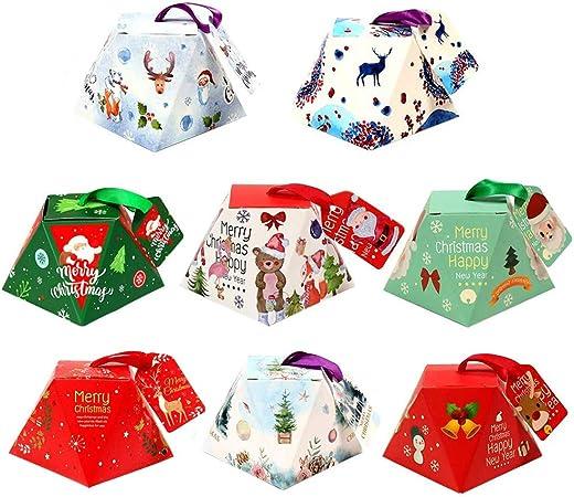 24 piezas navidad cajas de regalo con etiquetas,caja de caramelos decorativa cajas tratar las fuentes del partido de dulces, pasteles, galletas, de cumpleaños Navidad boda víspera Acción Gracias: Amazon.es: Hogar