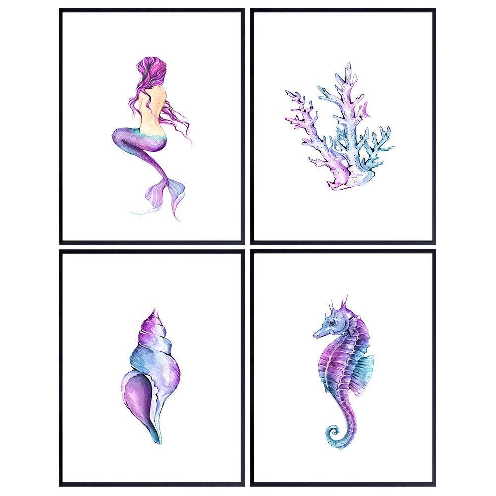 Mermaid, Seahorse, Seashell, Coral, Sea Animals Coastal Beach Wall Decor - Ocean Nautical Wall Art Decorations for Bathroom, Girls Bedroom, Living Room, Lake House - Pink Blue Tropical Summer Art