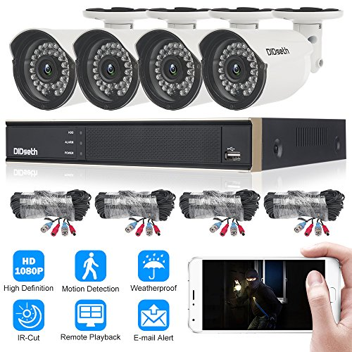 DIDseth Full HD 4 Channel 1080p Surveillance Camera System with 4pcs Weatherproof Outdoor Indoor Security Cameras Night Vision, Motion Detection by DIDseth