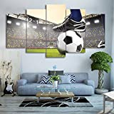 Wall Art Canvas Painting Canvas Art Soccer Match Painting Football Course Wall Pictures for Living Room 5 Panels With Framed