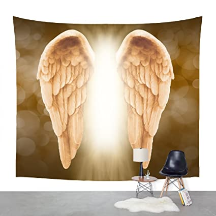 Amazon.com: Golden Angel Wings background Tapestry Headboard Wall ...