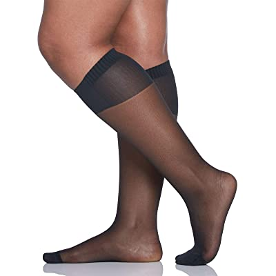 Berkshire Women's Plus Size Comfy Cuff Curvy Wide Calf Trouser Socks, Black, Plus Size at Women's Clothing store