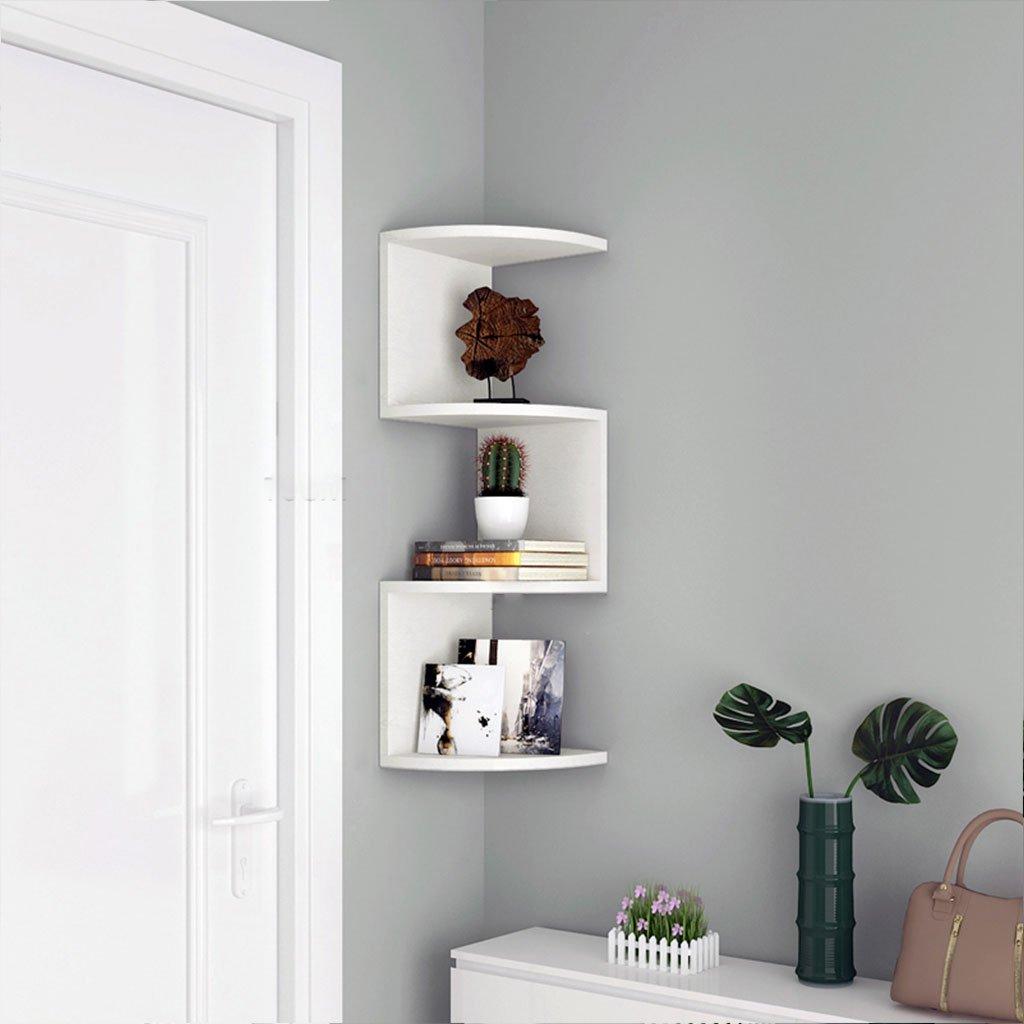 LTJTVFXQ-shelf Corner Bookshelf Shelf Racks Storage Rack Wall-mounted Shelf Wall Corner Bracket Triangle Wall Partition Corner Rack White Wood Grain (Size : 79cm)