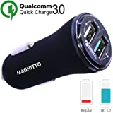 MAGNITTO Fast Car Charger Adapter 5.4A 30W Output Dual USB port 3A Smart IC 2.4A - Compatible Quick Charge 3.0 with Samsung Galaxy S9 S8 S7 Plus Note 9 8