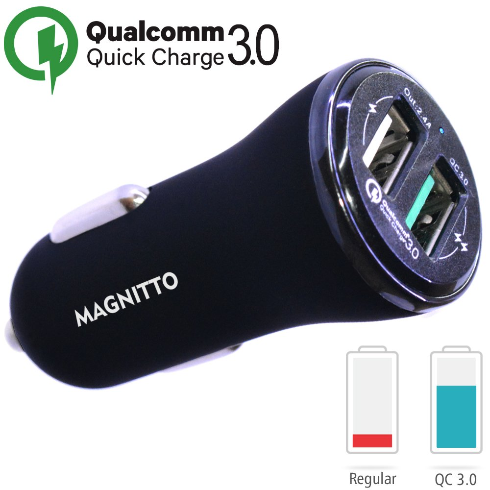 Quick Charge 3.0 Car Charger, MAGNITTO Dual USB Car Charger, Adapter for Apple and Android,Samsung Galaxy S8 / 7 / 6 / Edge / Plus,iPhone X / 8 / 7 / 6s /Plus,Universal Cell Phone Fast Charger