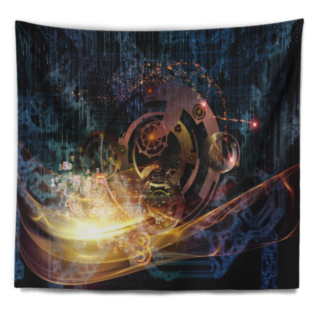 60 in in x 50 in Designart TAP7911-60-50  Lights of Gears Abstract Blanket D/écor Art for Home and Office Wall Tapestry Large